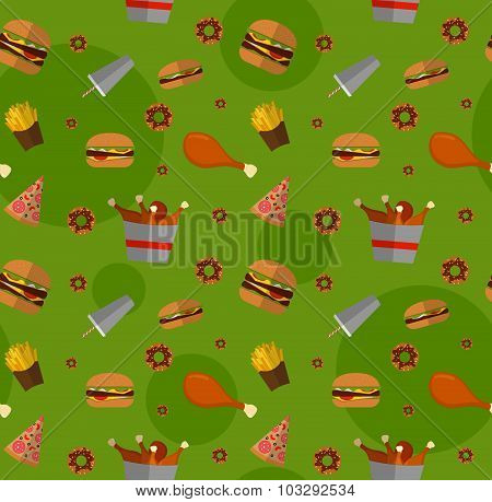Fast Food Seamless Pattern Design. Flat Style Elements. Illustration Of Unhealthy Food, Diet Or Rest