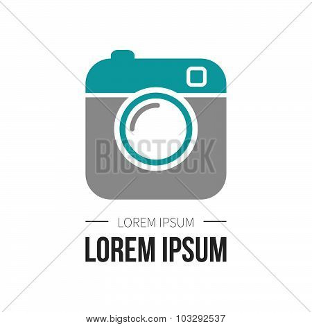 Hipster Photo Or Camera Icon. Flat Style Camera Good For Your Application, Button For Website, Logo