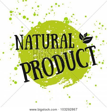 Eco Icon With Leaf, Vector Bio Sign On Watercolor Stain With Watercolor Spots. Vector Banner 100% Na