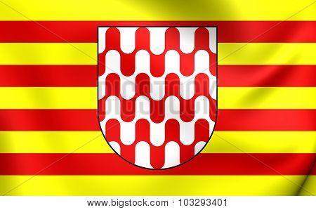 Flag Of Girona City, Spain.