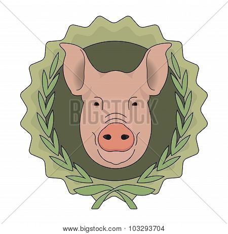 Butchery vector eco logo. Pig head in laurel wreath. Green