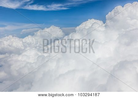 The White Big Fluffy Clouds With Magic Shape In The Blue Sky, Beautiful Cloudscape.