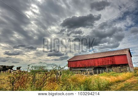 Red Barn In Countryside During Autumn