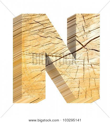 Letter from pine wood alphabet set isolated over white. Computer generated 3D photo rendering.