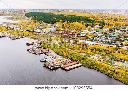 Aerial view on Tyumen Repair Yard. Tyumen. Russia