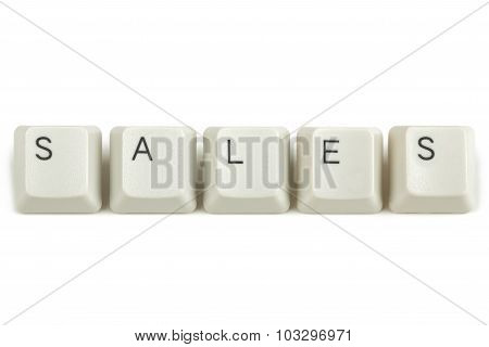 Sales From Scattered Keyboard Keys On White