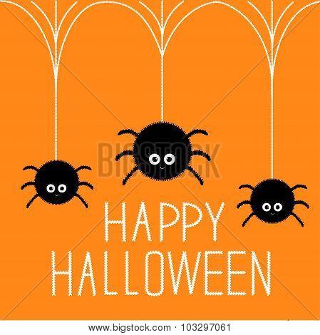 Three Cute Hanging Fluffy Spiders On Web. Happy Halloween Card. Flat Design