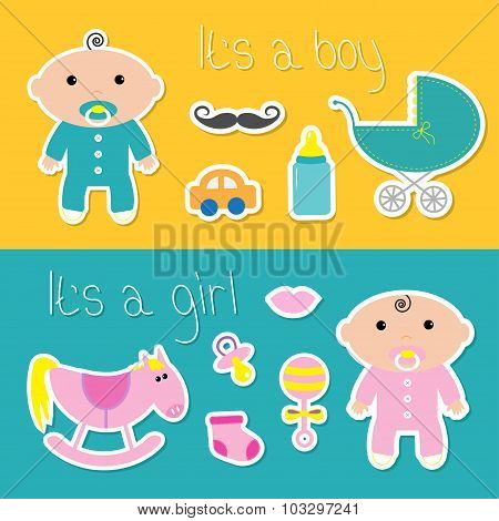 Its A Boy Girl Banner Set Baby Shower Card With Bottle, Horse, Rattle, Pacifier, Sock, Car, Mustache