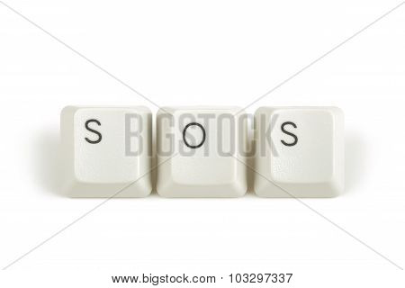 Sos From Scattered Keyboard Keys On White