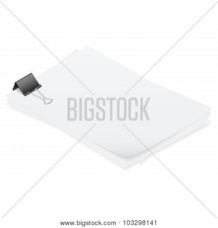 Stack Of Papers Held Together Smoothly Isometric Detailed Set
