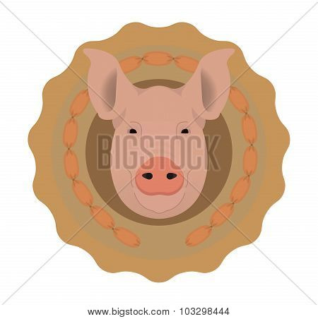 Butchery vector logo. Pig head in wieners circle. No outline