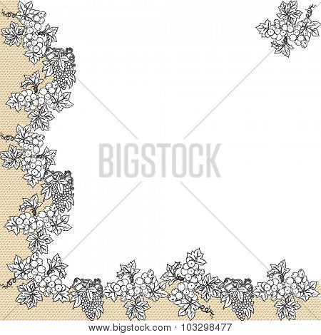 Vintage invitation card with elegant abstract floral design, black grapes on white and tan. Vector illustration.