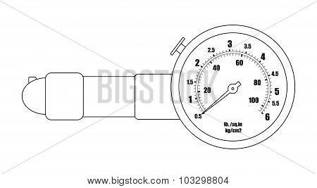 Tire pressure gauge. Contour