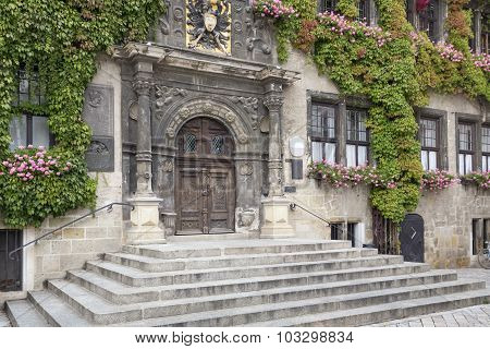 Entrance into the Quedlinburg townhall, East Germany