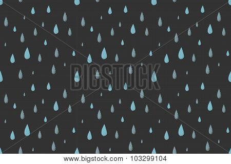 Rain vector seamless pattern. Gray