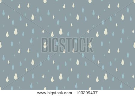Rain vector seamless pattern, foggy cold autumn day