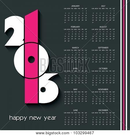 2016 Calendar Design Template With Dark Background