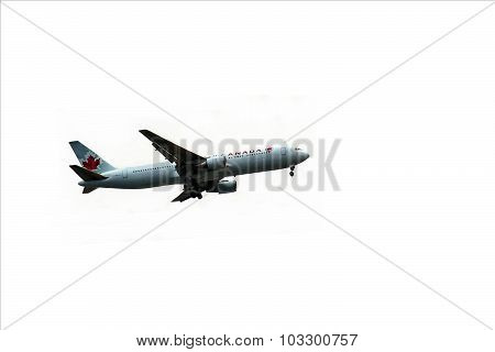 Air Canada Plane Is Preparing To Land At Ben Gurion Airport On A  White Background