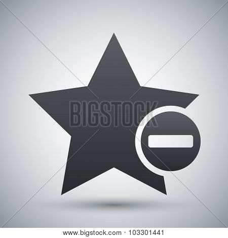 Vector Star Favorite Icon With Minus Glyph