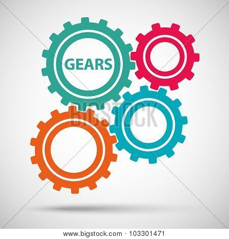 multicolored toothed gears (cogs) is meshed on gray background. vector illustration eps10