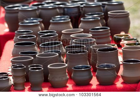 handmade ceramic pottery in a roadside market