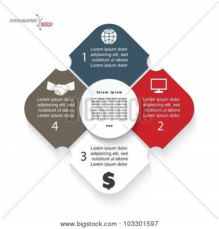 Modern Template Infographic For Business Project Or Presentation With 4 Segments Can Be Used For Web