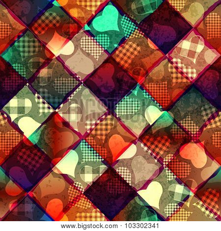 Hearts pattern on geometric background.