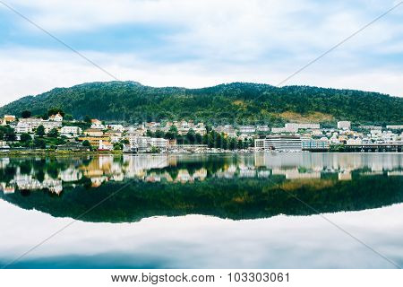 Cityscape of Bergen, Norway. Architecture Background
