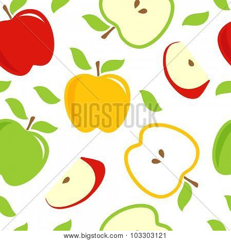 Seamless pattern with res, green, yellow apples on white background. Can be used for web, textile, wallpaper and other design