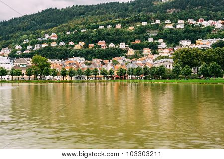 Waterfront in Bergen with buildings. Norway