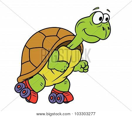 Turtle on roller skates