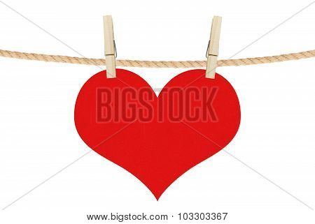 Red Heart Hang On Clothespins Isolated On The White Background