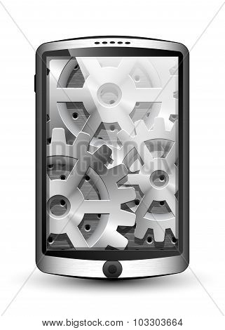 Smartphone With Gears Background