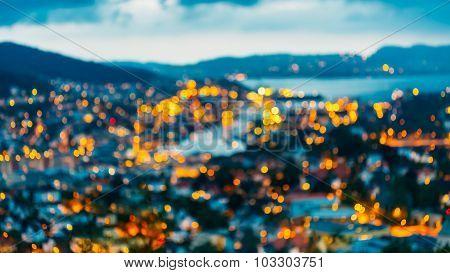 Blurred Architecture Background of Bergen, Norway.