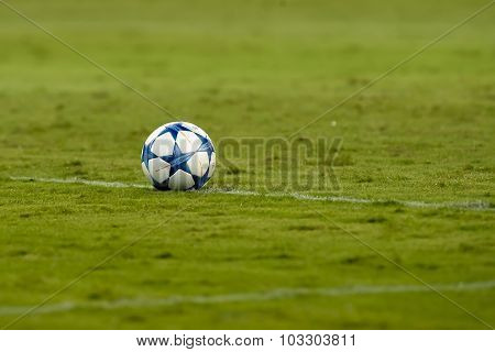 The Official Ball During The Uefa Champions League Game Between Olympiacos And Bayern, In Athens, Gr