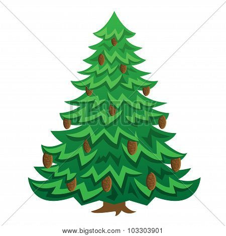Green Christmas Cartoon Tree With Brown Cones.