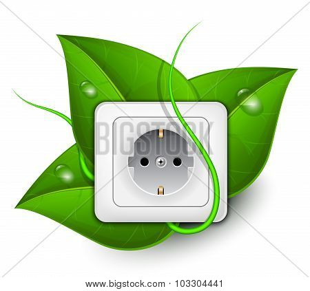 Green Energy Concept. Power Outlet With Foliage Background