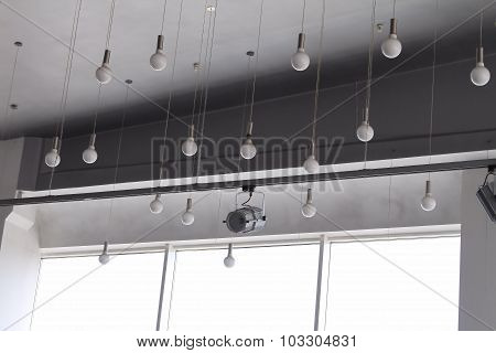 Studio lighting ceiling lamps and track spotlight on rail system