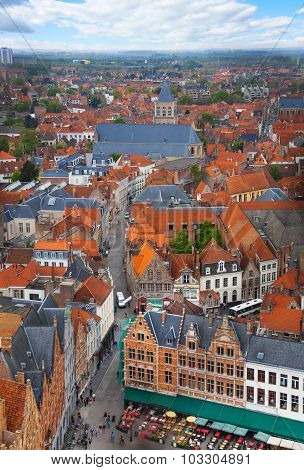 View from Belfry of Bruges during summer time