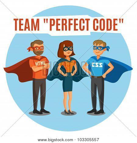 Programmers, Developers, Process Coding, Teamwork. Programming Concept.