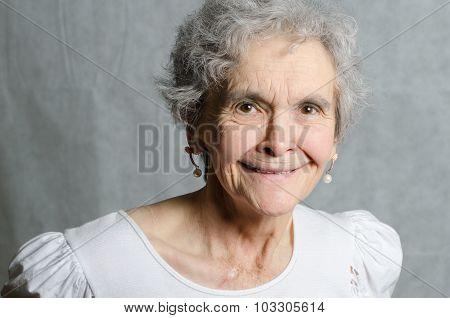 Portrait Old Woman Looking Friendly