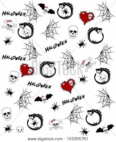 Seamless Pattern With Halloween Drawings On White