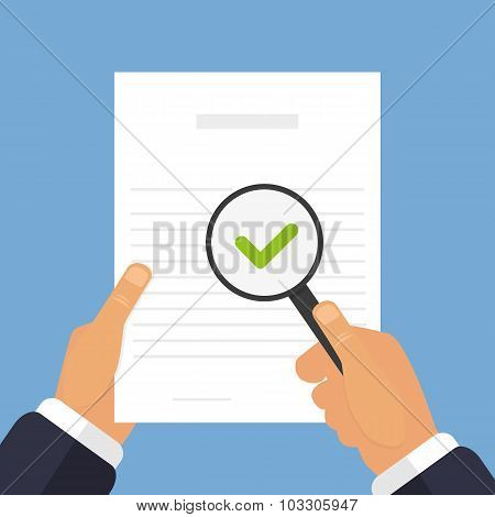 Piece Of Paper In Hands A Document Checkout Flat Style