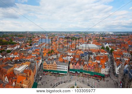 View from Belfry of Bruges and Grote Markt