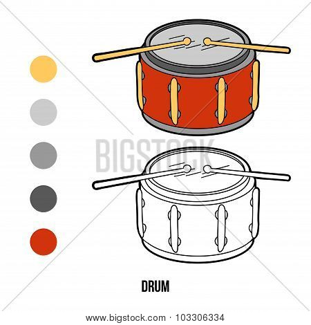 Coloring Book For Children: Music Instruments (drum)