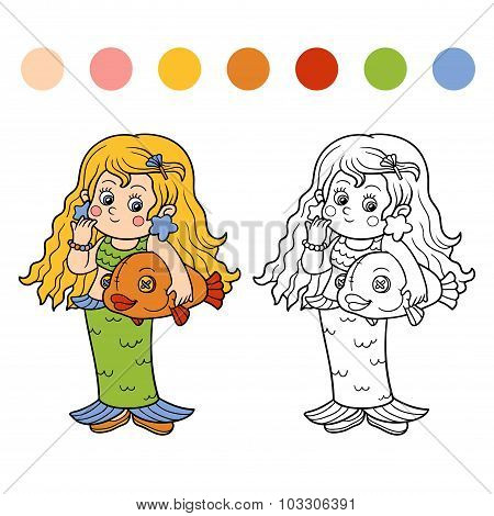 Coloring Book For Children: Halloween Characters (mermaid)