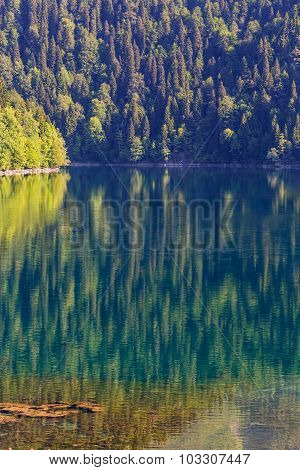 Scenery view of colorful mountain lake