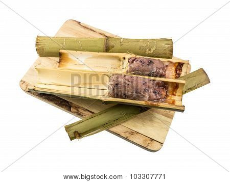 Glutinous Rice Roasted In Bamboo Joints (khoalam) Isolated On White Background