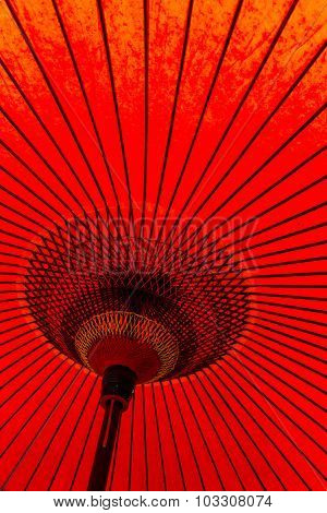 Japanese style red mulberry paper umbrella