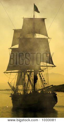 Um navio pirata em batalha